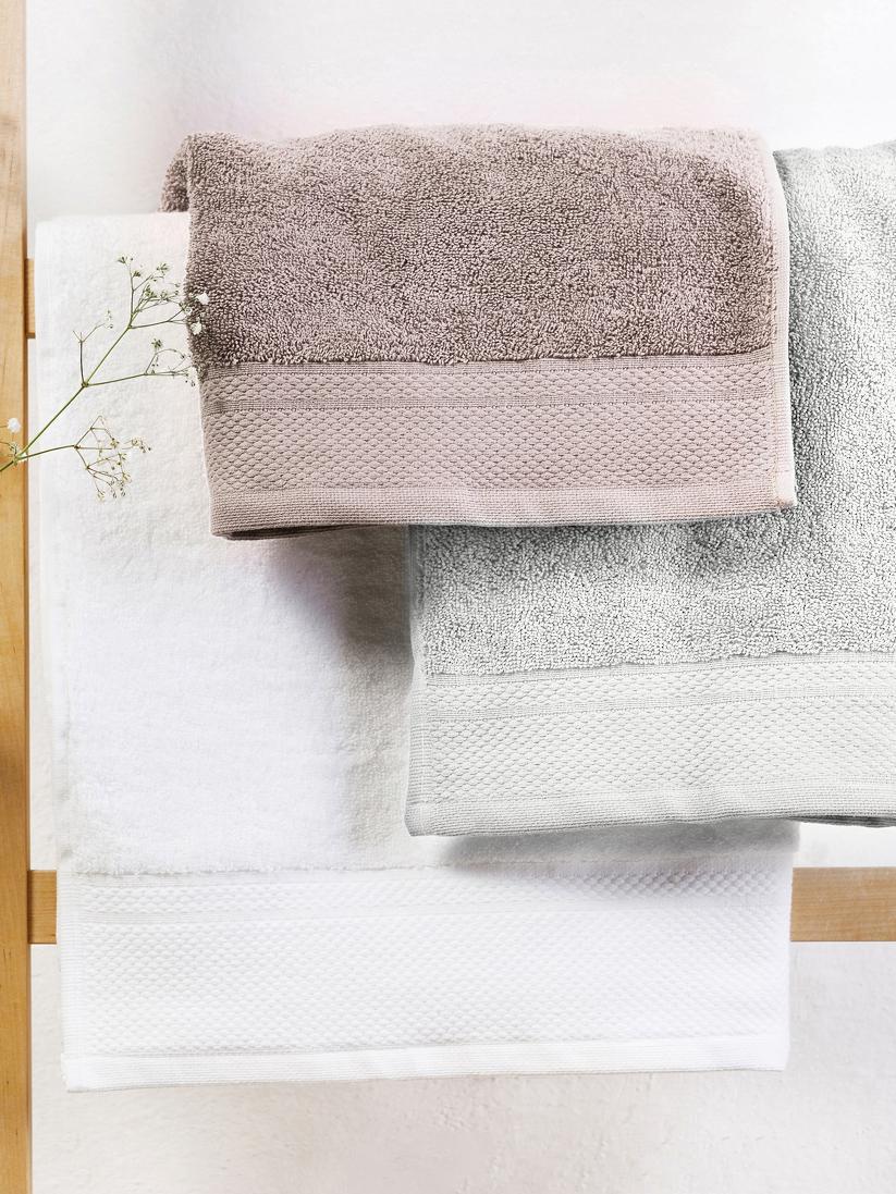 Handtuch-Set Premium mit klassischer Zierbordüre, 3-tlg., Hellgrau, Verschiedene Grössen