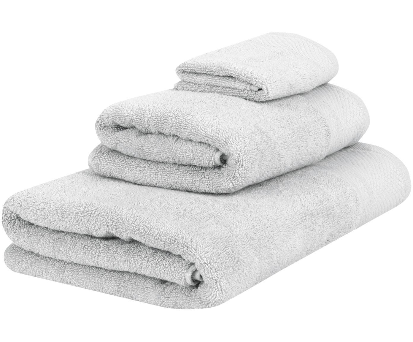 Handtuch-Set Premium mit klassischer Zierbordüre, 3-tlg., Hellgrau, Sondergrößen