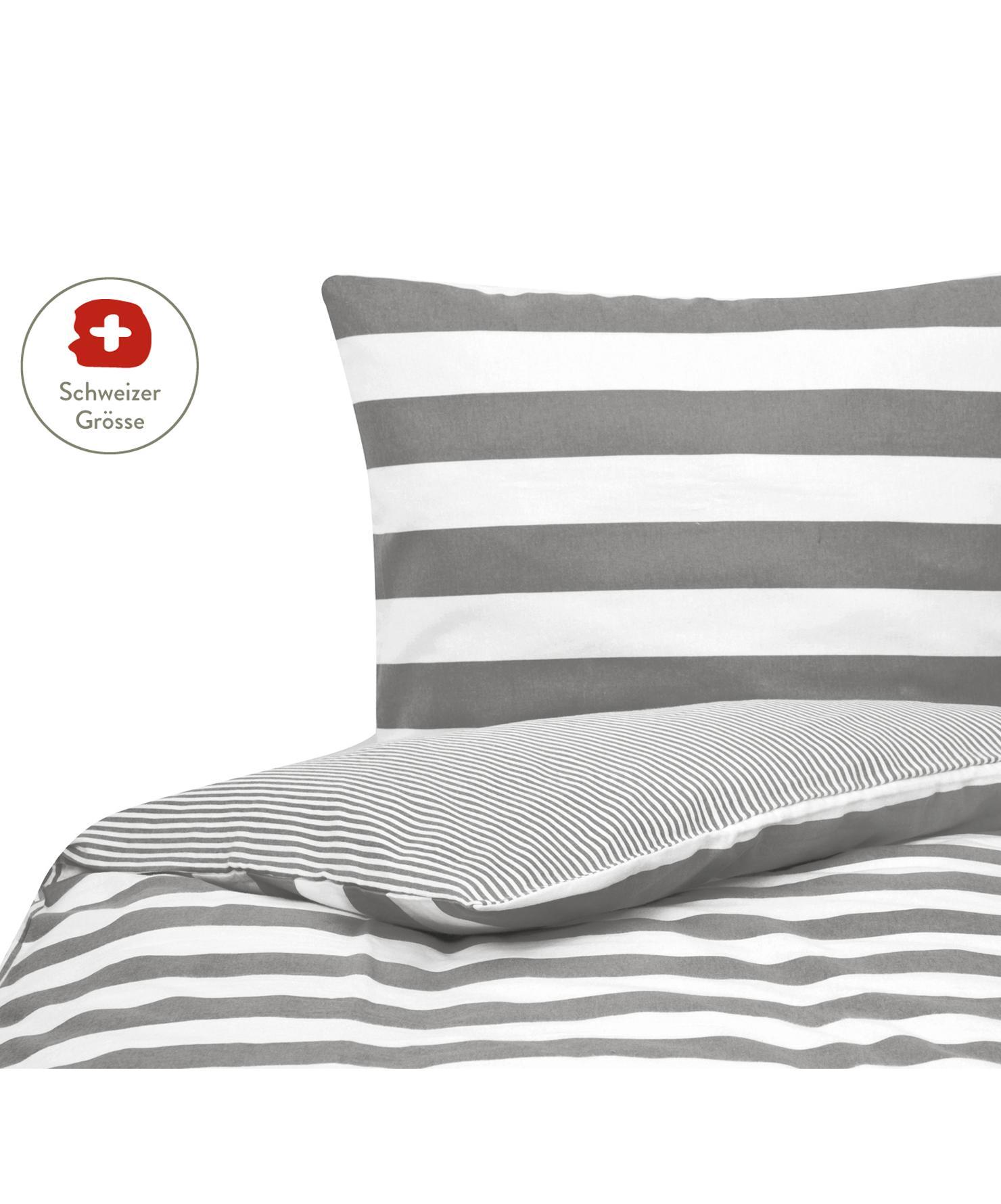 Flanell-Wendebettdeckenbezug Alice mit Sternen, Webart: Flanell Flanell ist ein s, Grau, Weiss, 160 x 210 cm