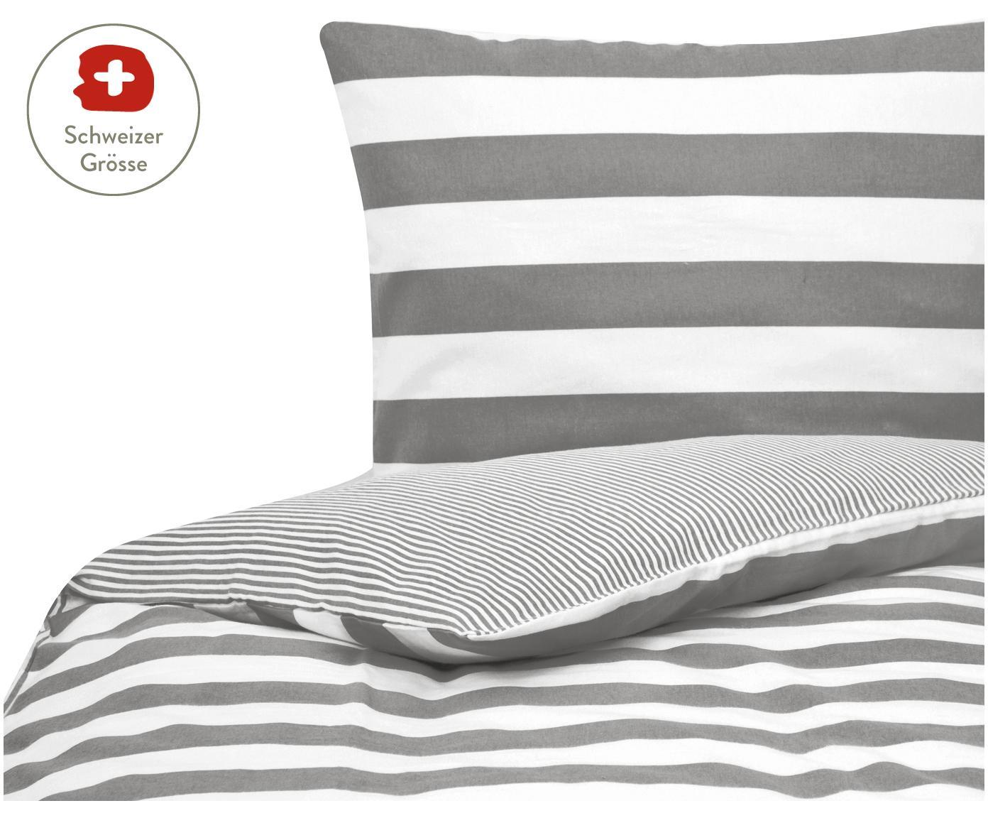 Flanell-Wendebettdeckenbezug Alice mit Sternen, Webart: Flanell, Grau, Weiss, 160 x 210 cm