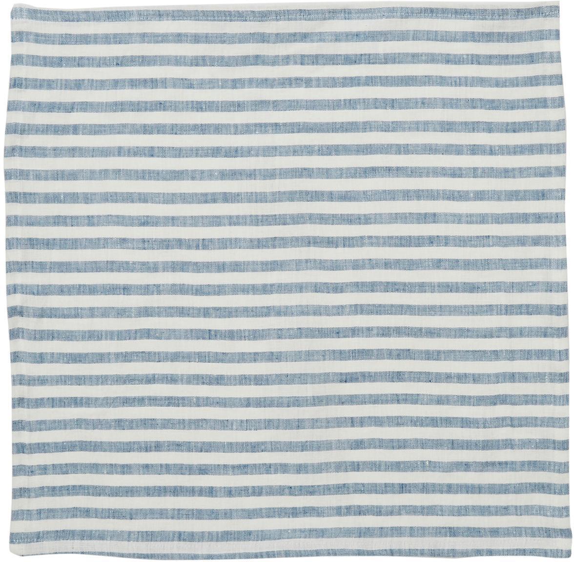 Servilletas de lino Solami, 6uds., Lino, Azul claro, blanco, An 46 x L 46 cm