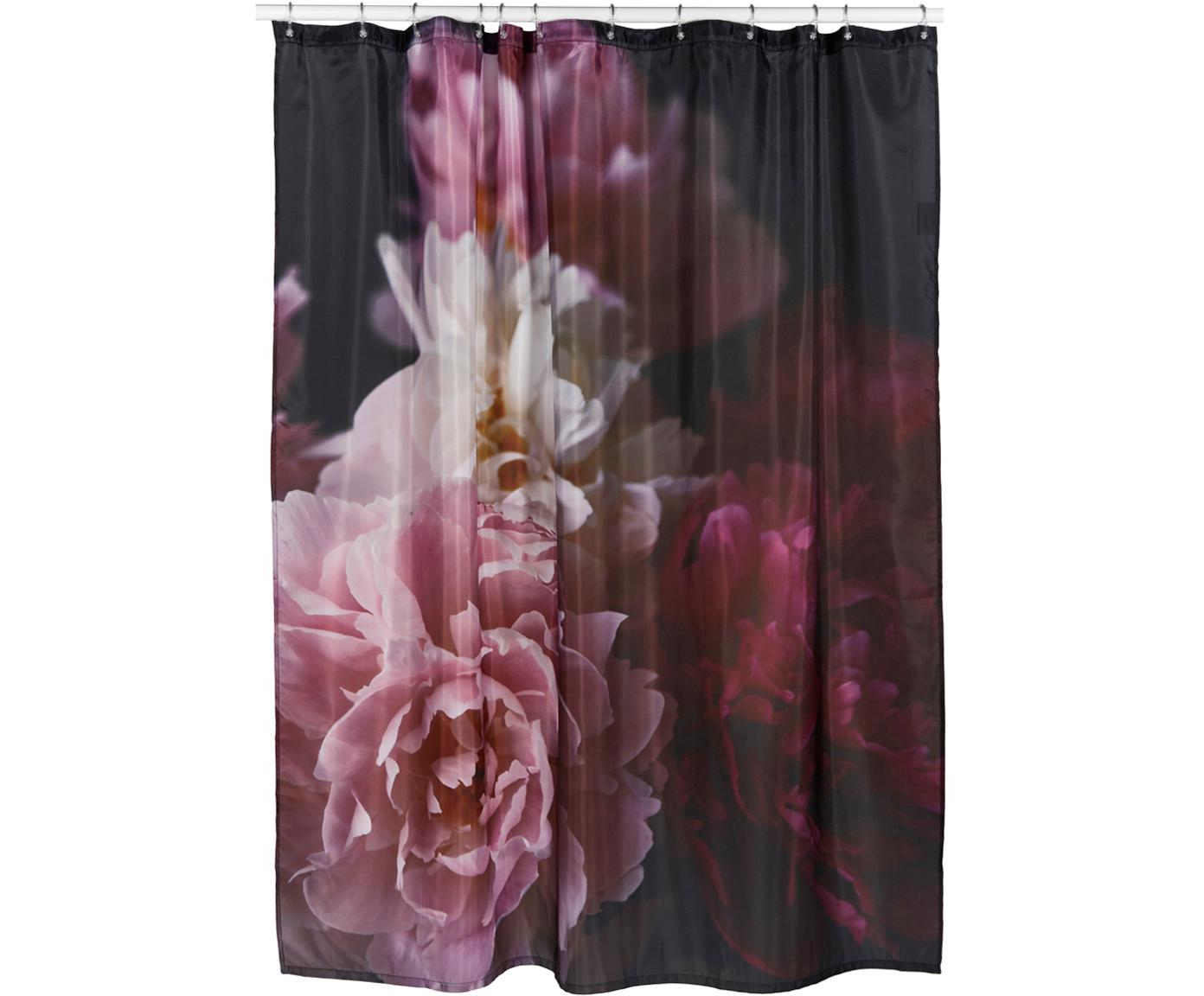 Tenda da doccia con motivo floreale Rosemarie, Poliestere, Multicolore, Larg. 180 x Lung. 200 cm