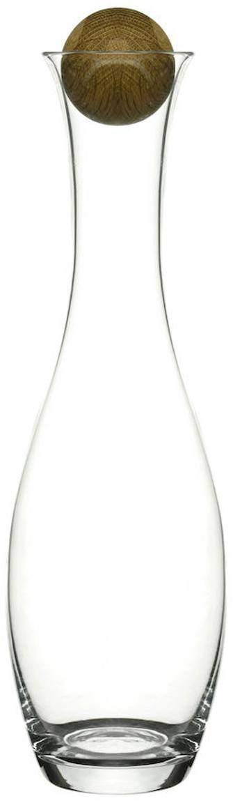 Mundgeblasene Karaffe Eden mit Holzdeckel, Verschluss: Eichenholz, Transparent, Eichenholz, 1 L