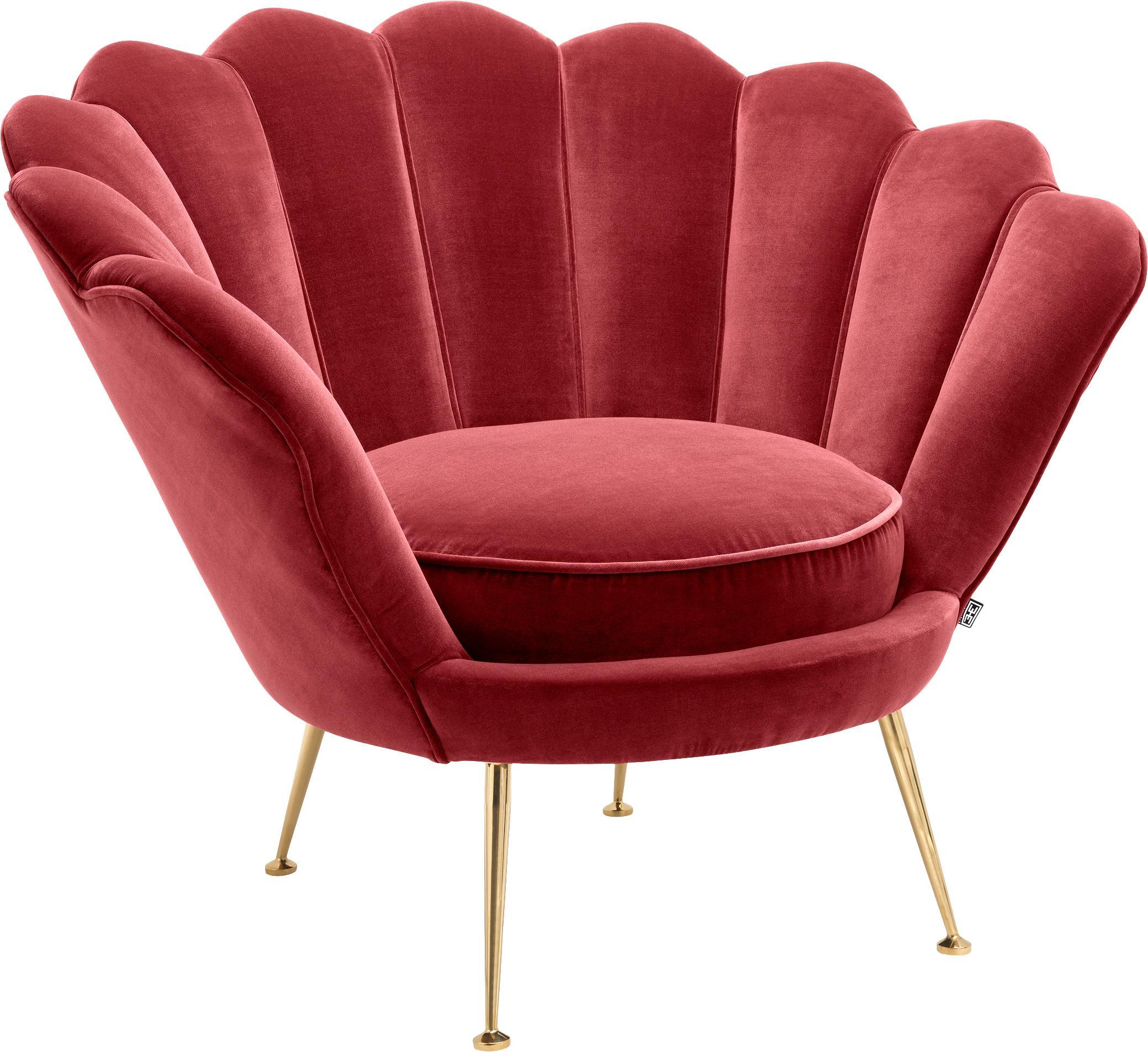 Samt-Loungesessel Trapezium in Rot, Bezug: 95% Polyester, 5% Baumwol, Samt Dunkelrot, B 97 x T 79 cm