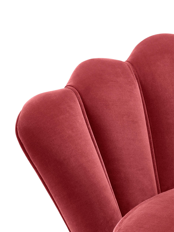Samt-Loungesessel Trapezium in Rot, Bezug: 95% Polyester, 5% Baumwol, Füße: Edelstahl, messingbeschic, Samt Dunkelrot, B 97 x T 79 cm