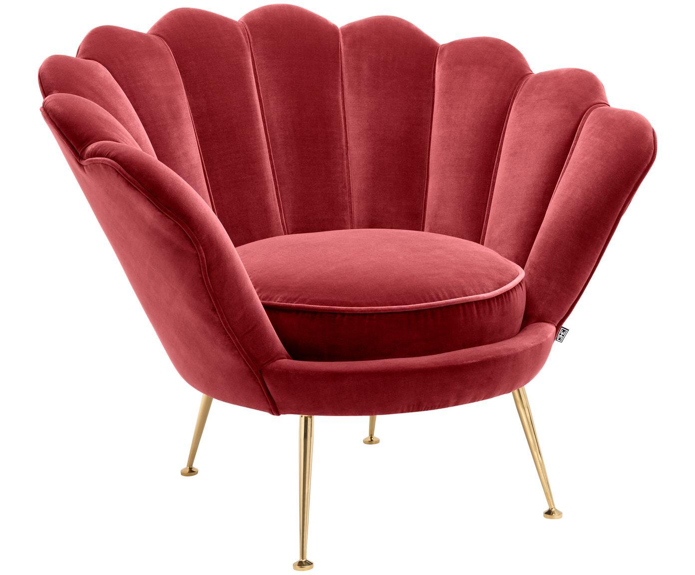 Poltrona in velluto rosso Trapezium, Rivestimento: 95% poliestere, 5% cotone, Piedini: acciaio inossidabile, riv, Sottostruttura: legno di pino, Velluto rosso scuro, Larg. 97 x Prof. 79 cm