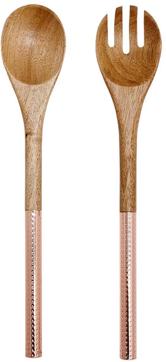 Saladebestek Oasis van acaciahout met roségoudkleurige handvatten, 2-delig, Bestek: acaciahout, Handvatten: gecoat edelstaal, Koperkleurig, houtkleurig, L 37 cm