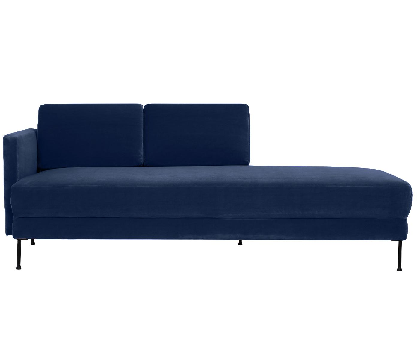 Fluwelen chaise longue Fluente, Bekleding: fluweel (hoogwaardig poly, Frame: massief grenenhout, Poten: gelakt metaal, Donkerblauw, B 201 x D 83 cm