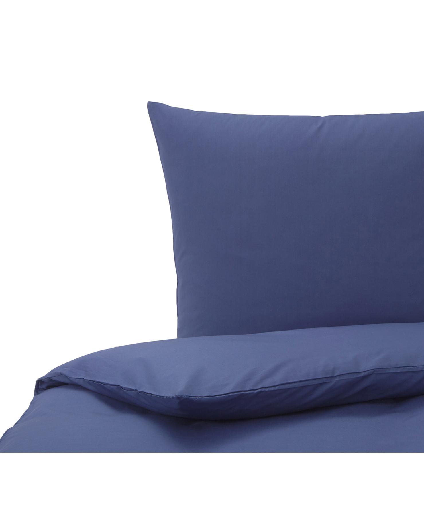 Baumwoll-Bettwäsche Weekend in Dunkelblau, 100% Baumwolle  Fadendichte 145 TC, Standard Qualität  Bettwäsche aus Baumwolle fühlt sich auf der Haut angenehm weich an, nimmt Feuchtigkeit gut auf und eignet sich für Allergiker., Dunkelblau, 155 x 220 cm + 1 Kissen 80 x 80 cm