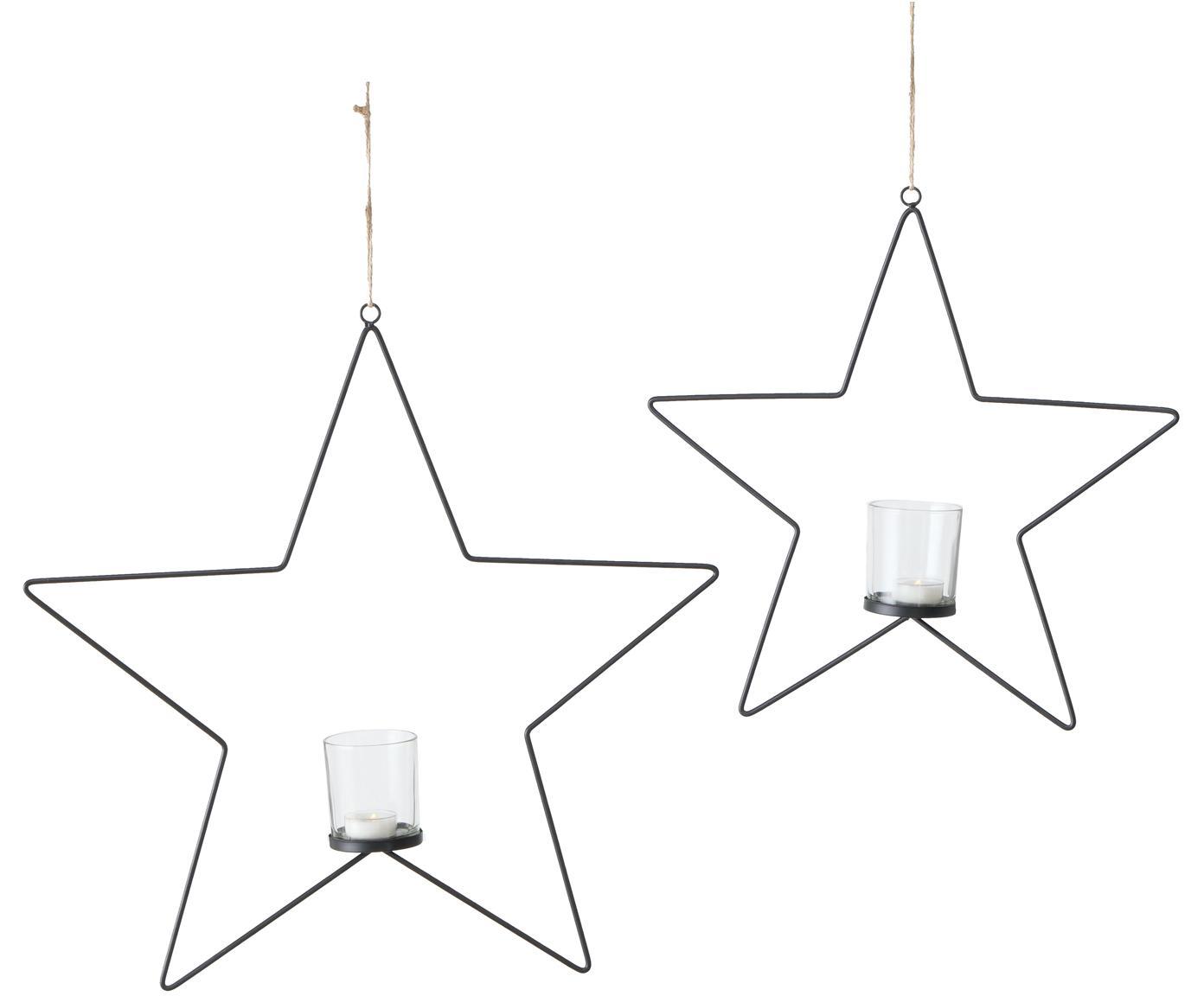 Windlichter-Set Pina, 2-tlg., Gestell: Metall, beschichtet, Windlicht: Glas, Schwarz, Transparent, Sondergrößen