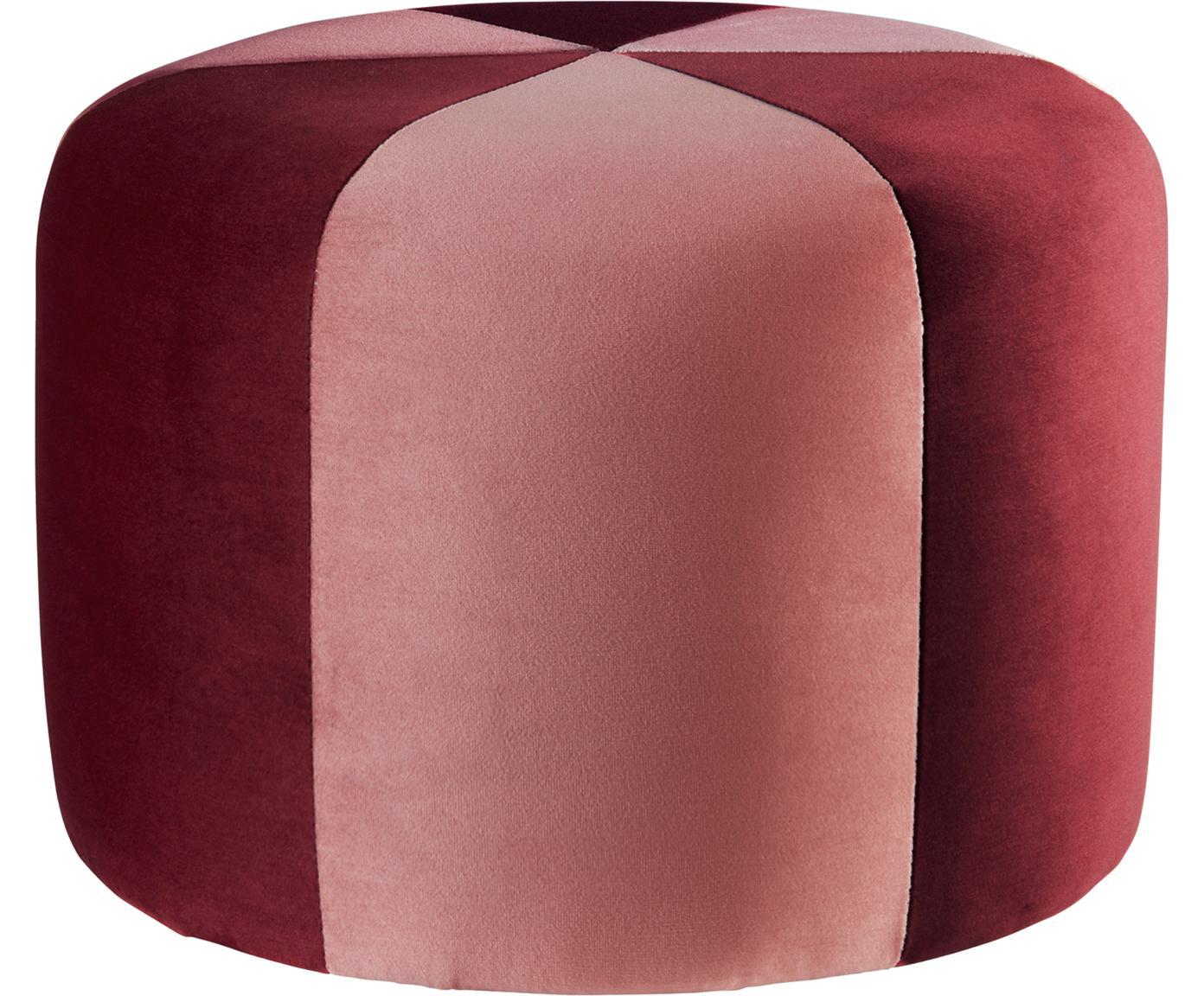 Pouf in velluto per bambini Barcellona, Rivestimento: velluto di poliestere, Struttura: legno, Rosso, rosa, Ø 40 x Alt. 28 cm