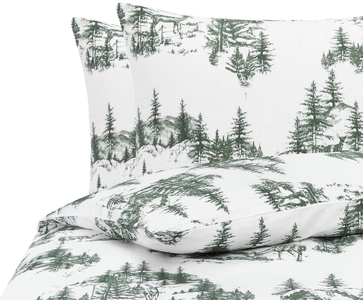 Flanell-Bettwäsche Nordic mit winterlichem Motiv, Webart: Flanell Flanell ist ein s, Grün, Weiß, 240 x 220 cm + 2 Kissen 80 x 80 cm