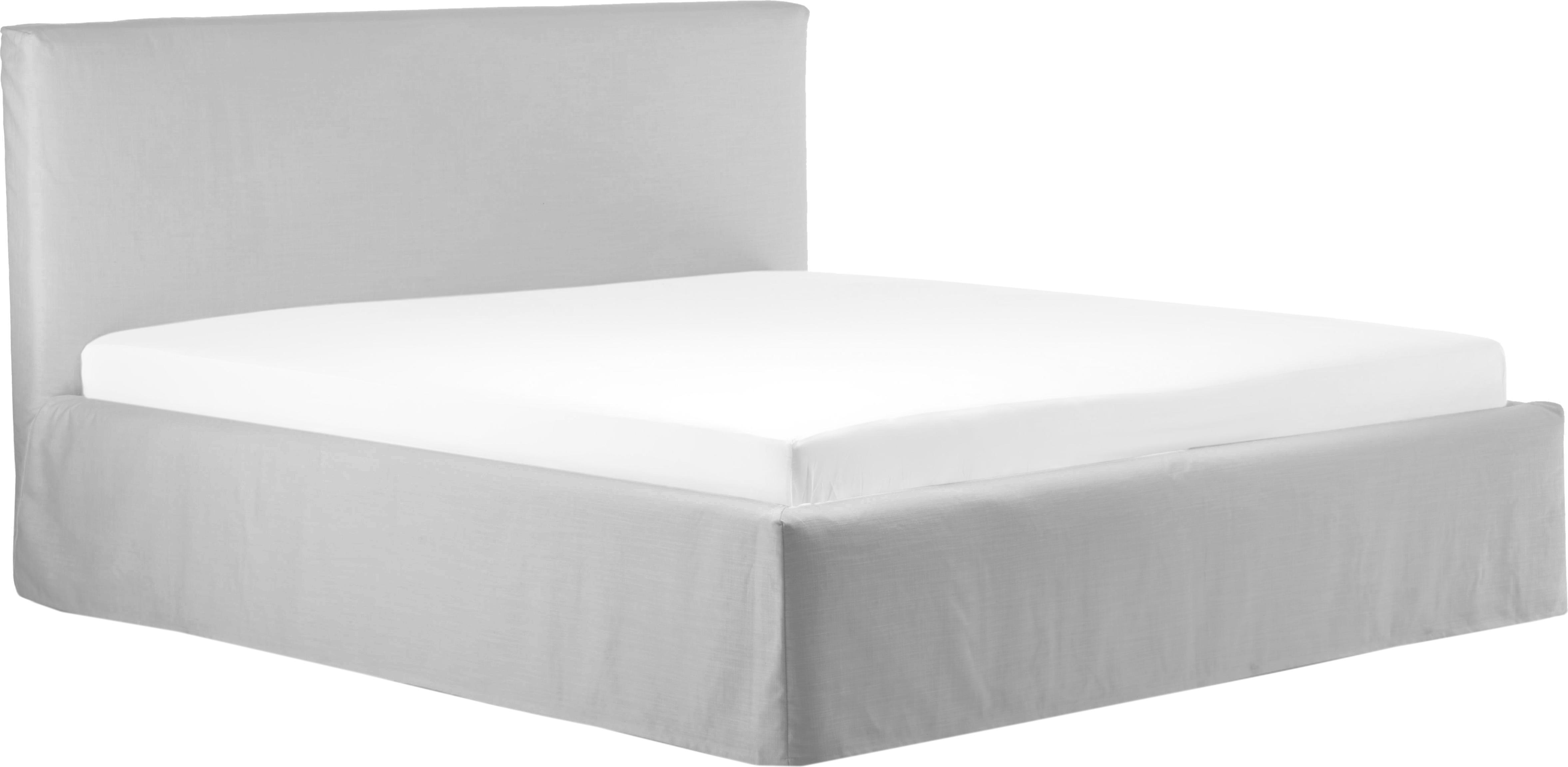 Łóżko tapicerowane  z funkcją przechowywania Feather, Korpus: lite drewno sosnowe, Tapicerka: poliester (materiał tekst, Jasny szary, 180 x 200 cm