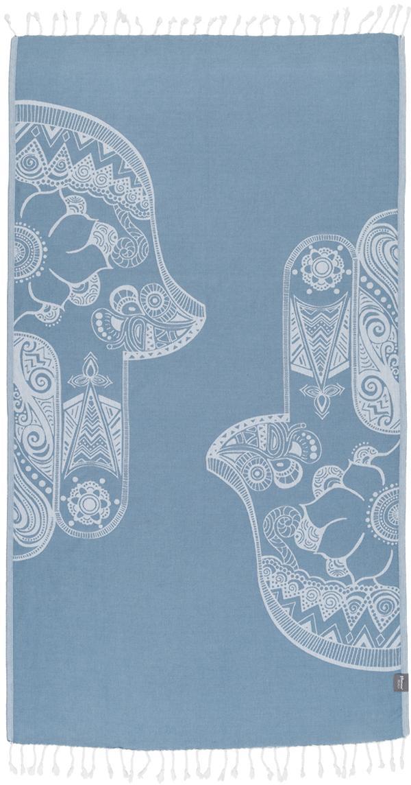 Hamamtuch Hamsa, 100% Baumwolle, leichte Qualität, 180 g/m², Hellblau, Weiss, 90 x 180 cm