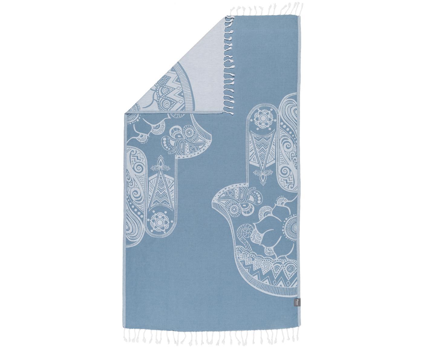 Fouta Hamsa, Bawełna, niska gramatura, 180g/m², Jasny niebieski, biały, S 100 x D 180 cm