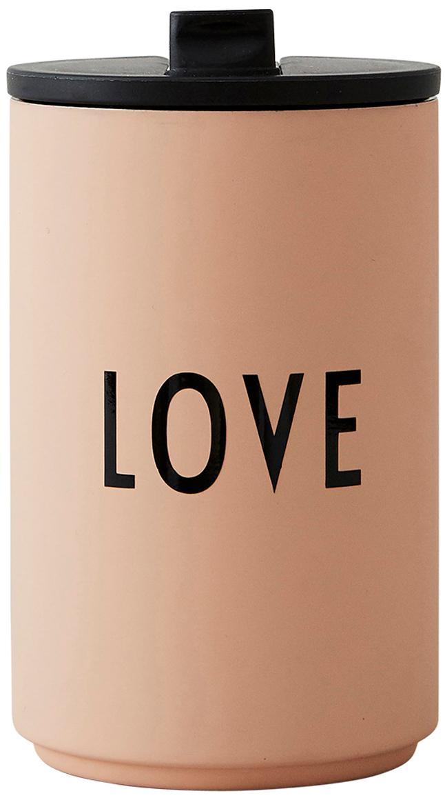 Tazza senza manico multiuso per caffè Favourite LOVE, Acciaio inossidabile rivestito, Pesca, Ø 8 x Alt. 13 cm
