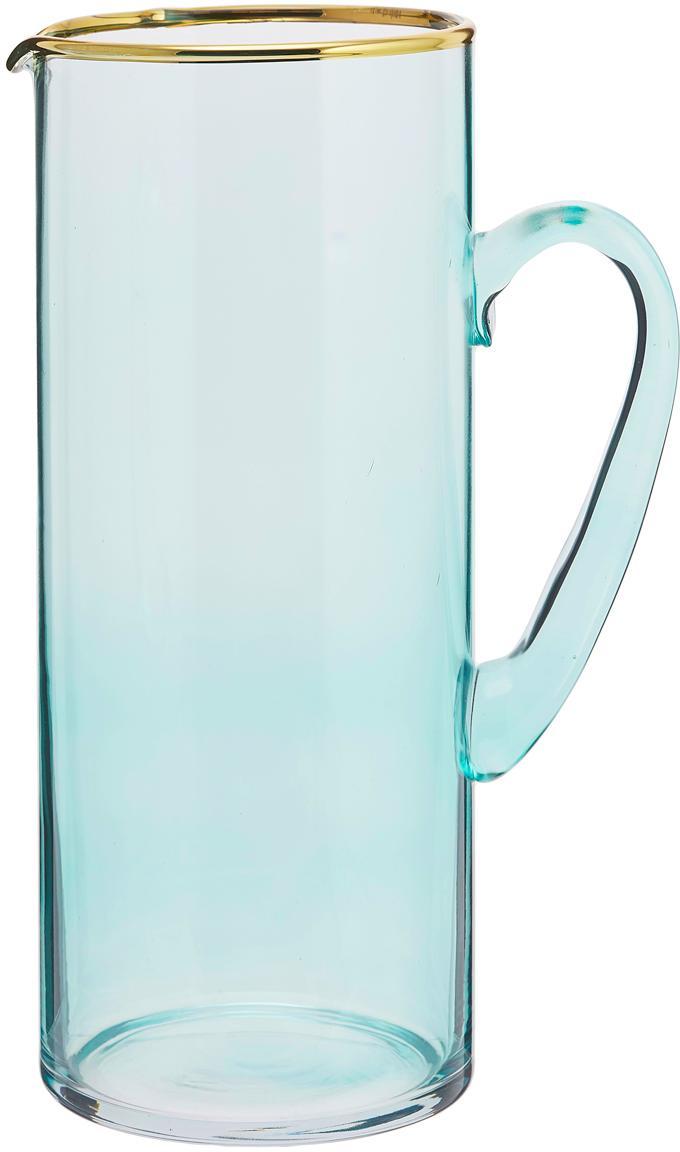 Krug Chloe in Blau mit Goldrand, Glas, Hellblau, 1.6 L