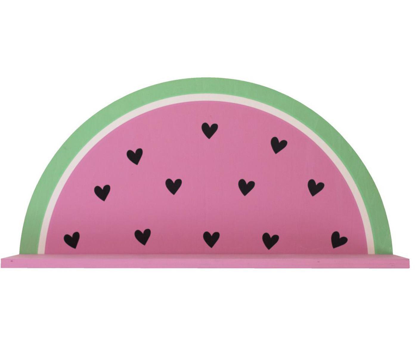 Wandrek Watermelon, Gecoat hout, Roze, groen, zwart, wit, 37 x 19 cm