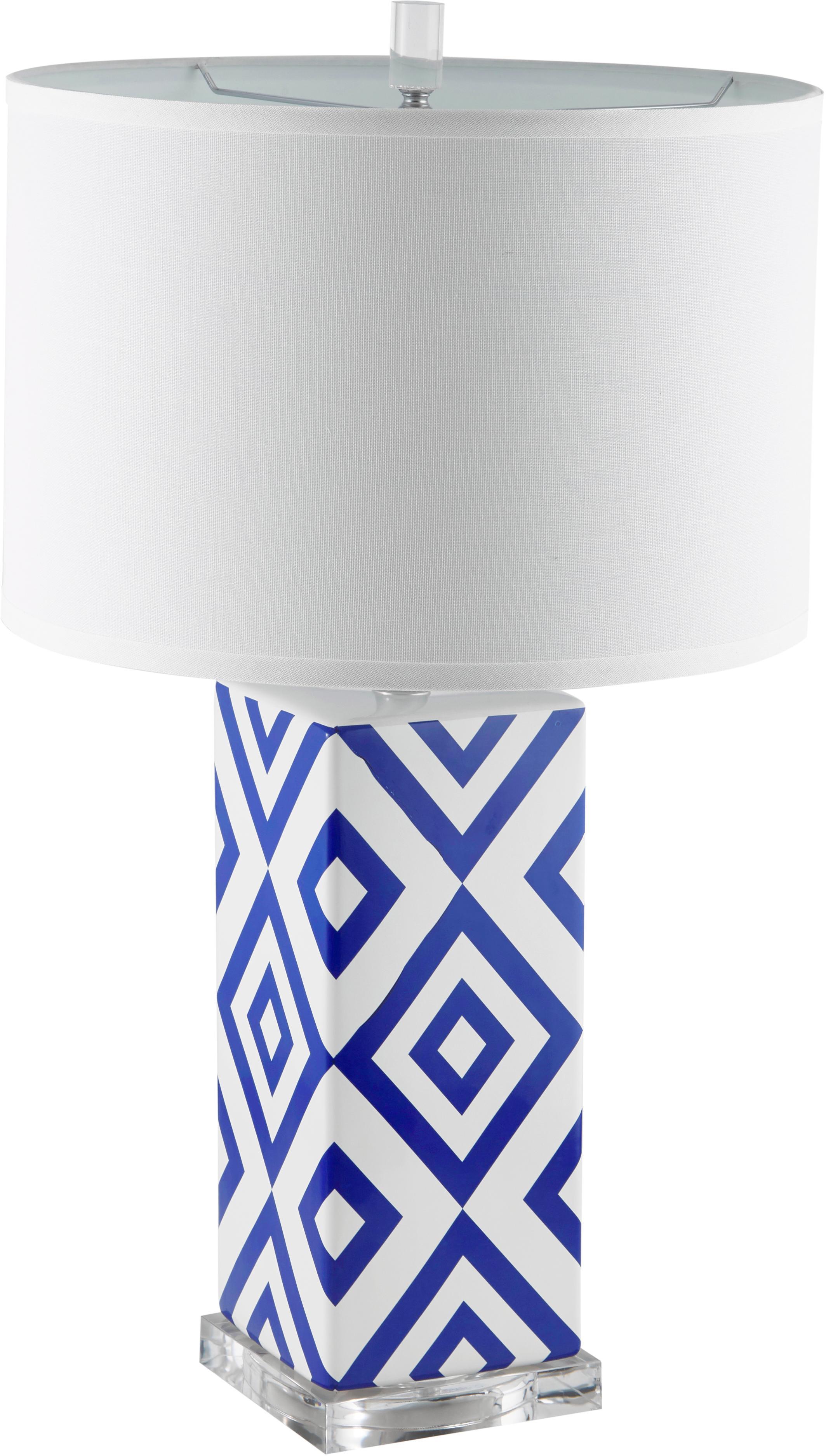 Lámparas de mesa grandesPatricia, 2uds., Pantalla: tela, Azul, blanco, Ø 38 x Al 69 cm