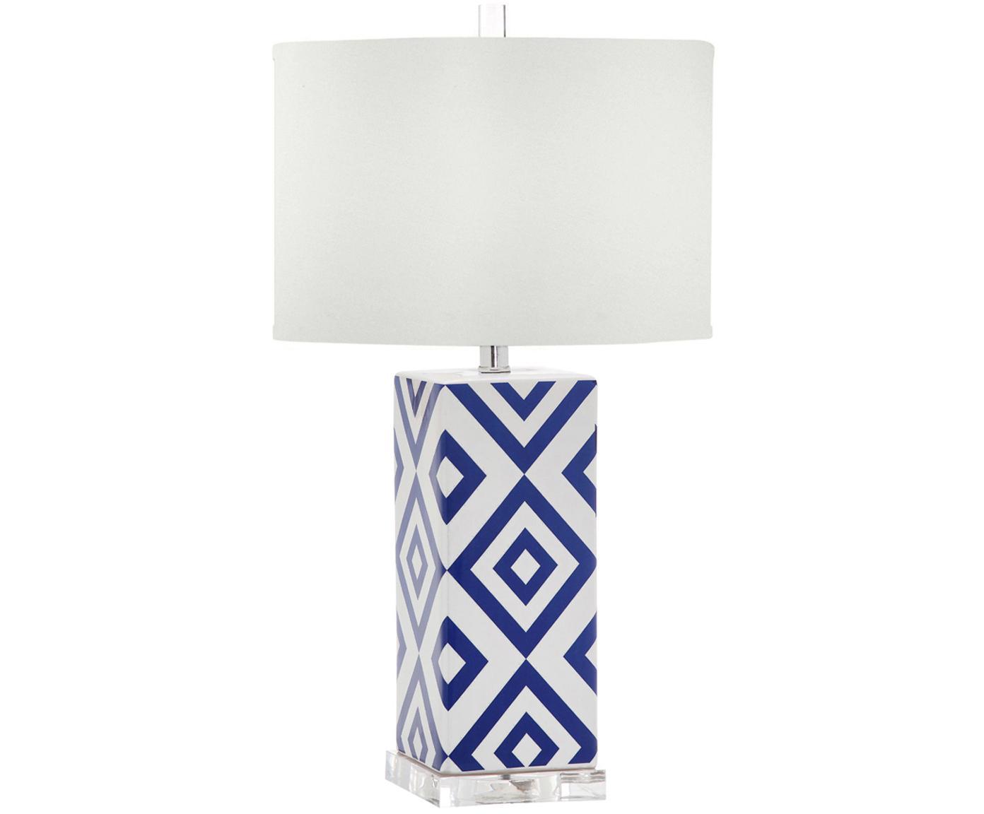 Lampada da tavolo Patricia 2 pz, Ceramica, acrilico, Blu, bianco, Ø 38 x Alt. 69 cm