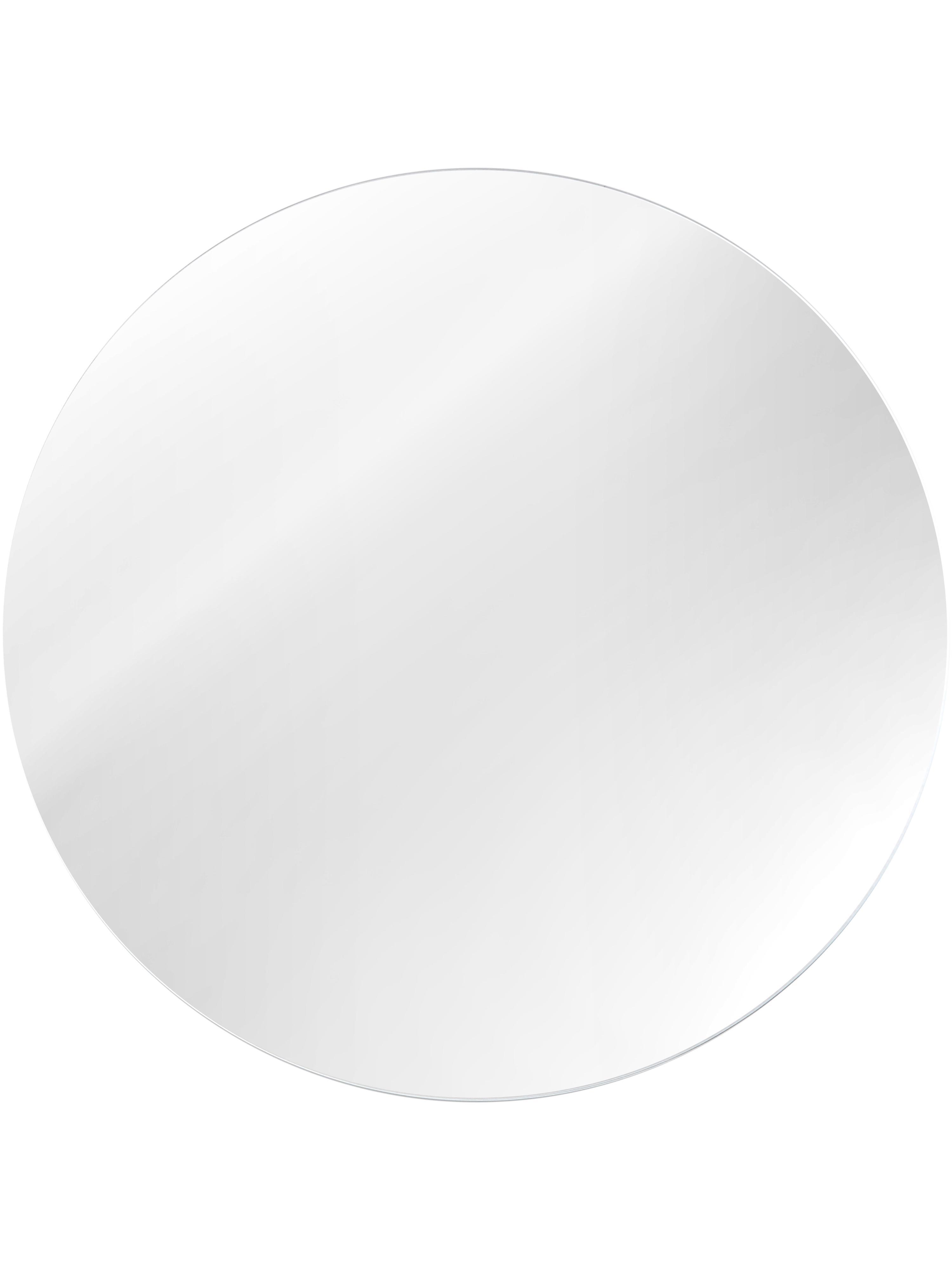 Specchio rotondo da parete senza cornice Erin, Superficie dello specchio: lastra di vetro, Retro: fibra di media densità, Superficie dello specchio: lastra di vetro Bordo esterno dello specchio: nero, ∅ 90 cm