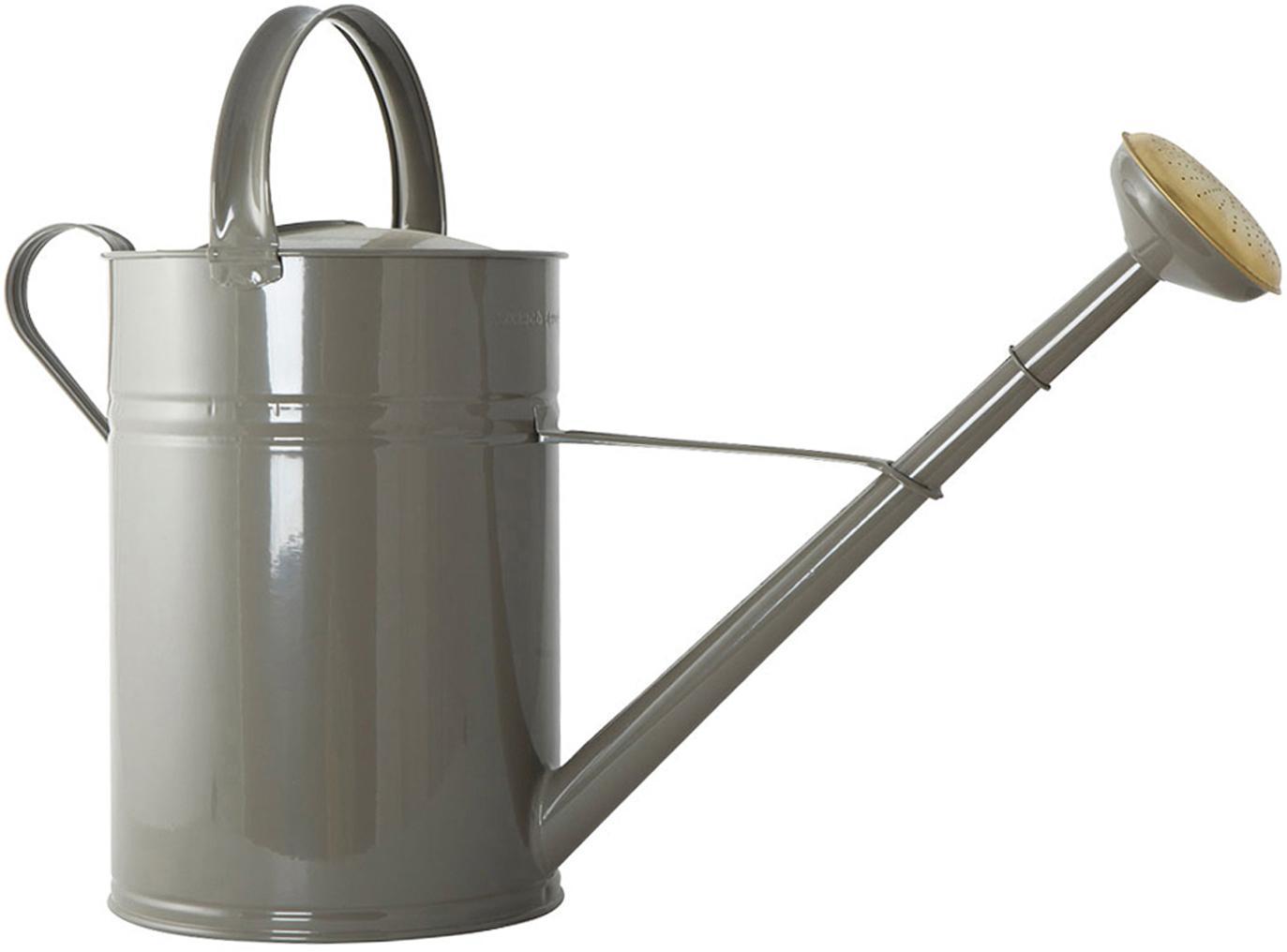 Gießkanne Nanny, Metall, lackiert, Grau, Messingfarben, 22 x 45 cm