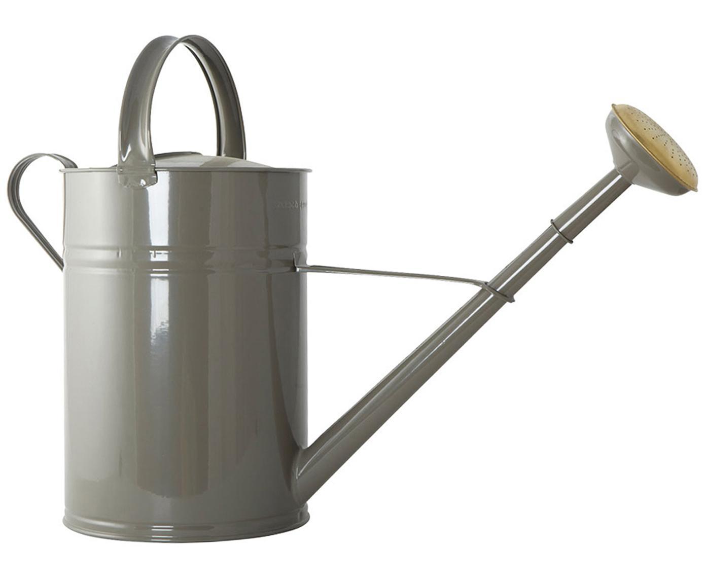 Giesskanne Nanny, Metall, lackiert, Grau, Messingfarben, 22 x 45 cm
