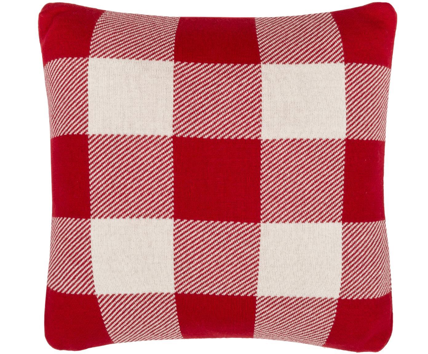 Funda de cojín de punto Tibor, 100%algodón, Blanco, rojo, 40 x 40 cm