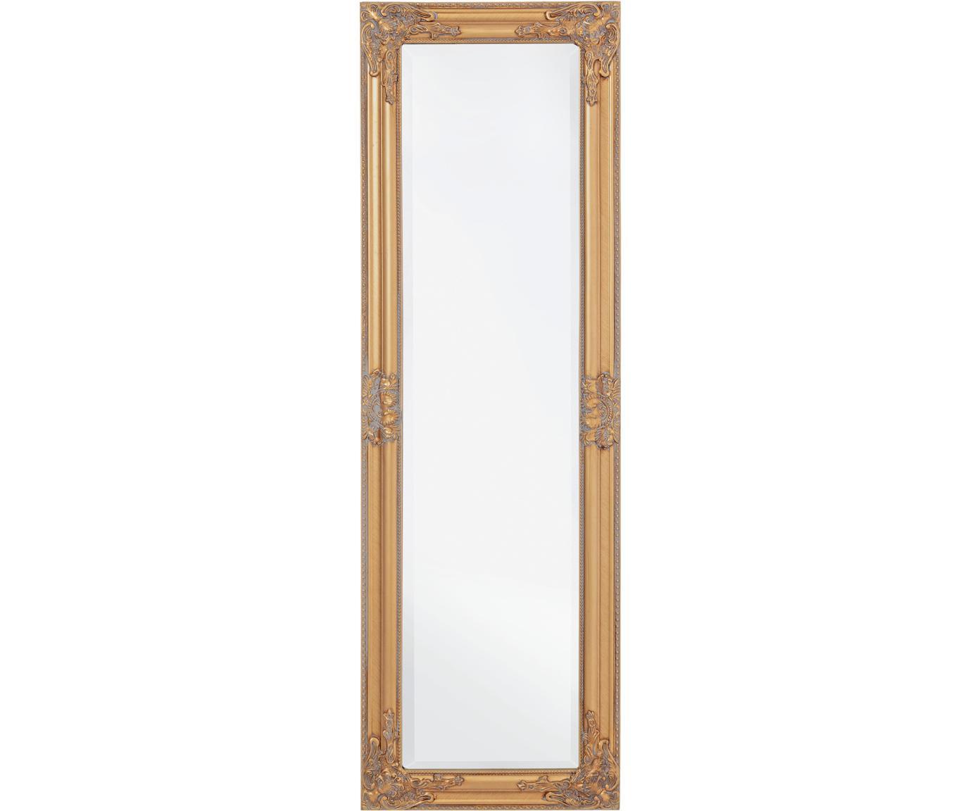 Wandspiegel Miro mit Holzrahmen in Gold, Rahmen: Holz, beschichtet, Spiegelfläche: Spiegelglas, Goldfarben, 42 x 132 cm