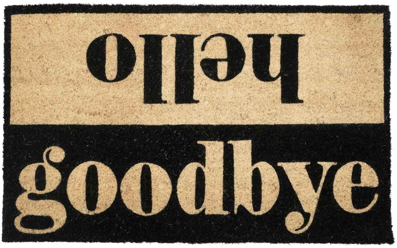 Fussmatte Hello/Goodbye, Oberseite: Kokosfaser, Unterseite: PVC, Beige, Schwarz, 45 x 75 cm