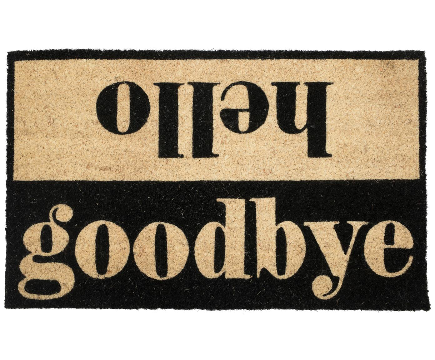 Felpudo Hello/Goodbye, Parte superior: fibras de coco, Reverso: PVC, Beige, negro, An 45 x L 75 cm