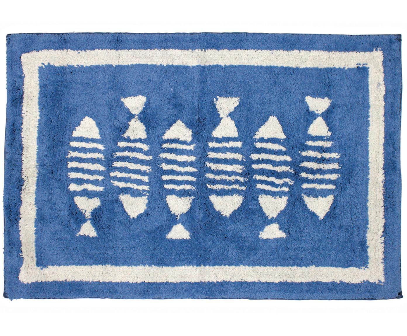 Tappeto bagno in cotone Summa, Cotone, Blu, bianco, Larg. 60 x Lung. 90 cm