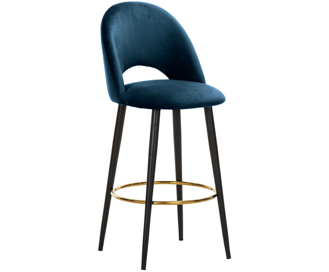Sedia da bar in velluto Rachel, Rivestimento: velluto (poliestere) 50.0, Gambe: metallo verniciato a polv, Velluto blu scuro, Larg. 48 x Alt. 110 cm