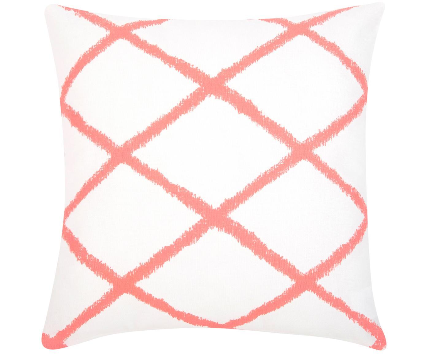 Poszewka na poduszkę Laila, 100% bawełna, Biały, odcienie koralowego, S 45 x D 45 cm