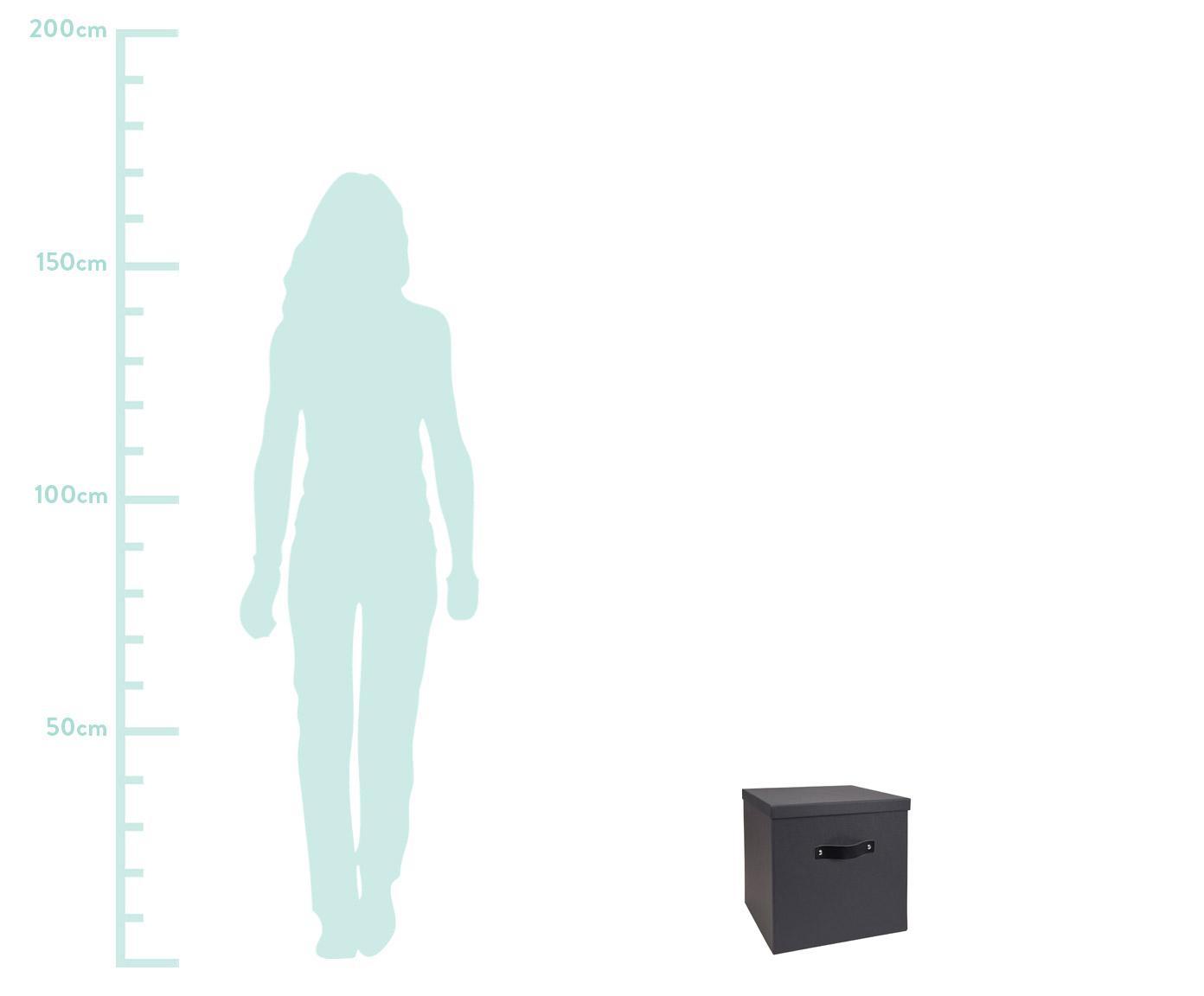Aufbewahrungsbox Texas, Box: Fester, laminierter Karto, Griff: Leder, Dunkelgrau, 32 x 32 cm