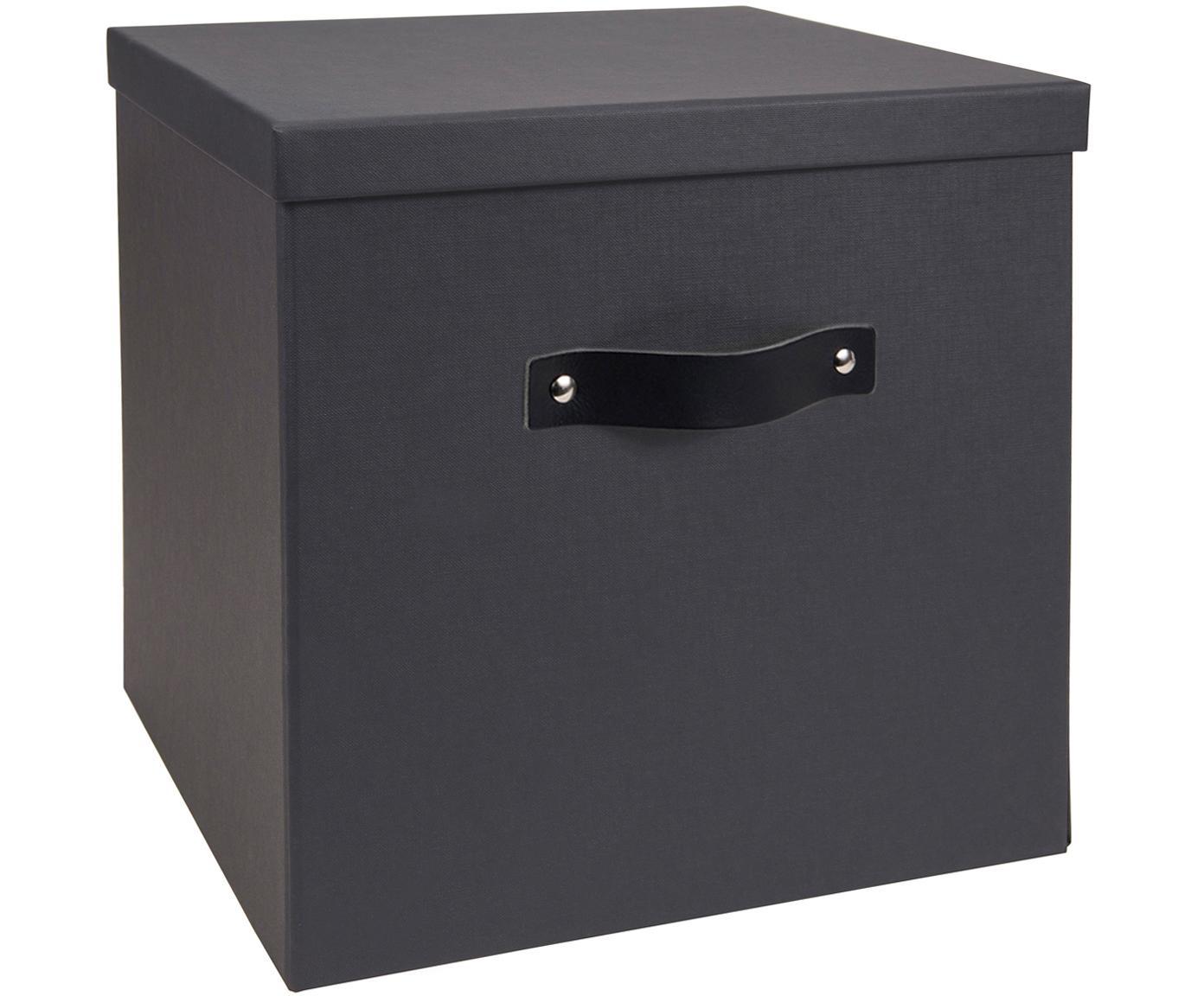 Caja Texas, Caja: cartón laminado, Asa: cuero, Gris oscuro, An 32 x Al 32 cm