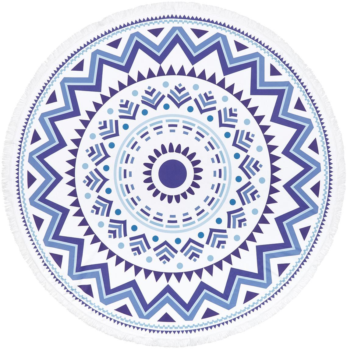Rundes Strandtuch Hippie, gemustert, 55% Polyester, 45% Baumwolle Sehr leichte Qualität 340 g/m², Dunkelblau, Hellblau, Weiss, Ø 150 cm