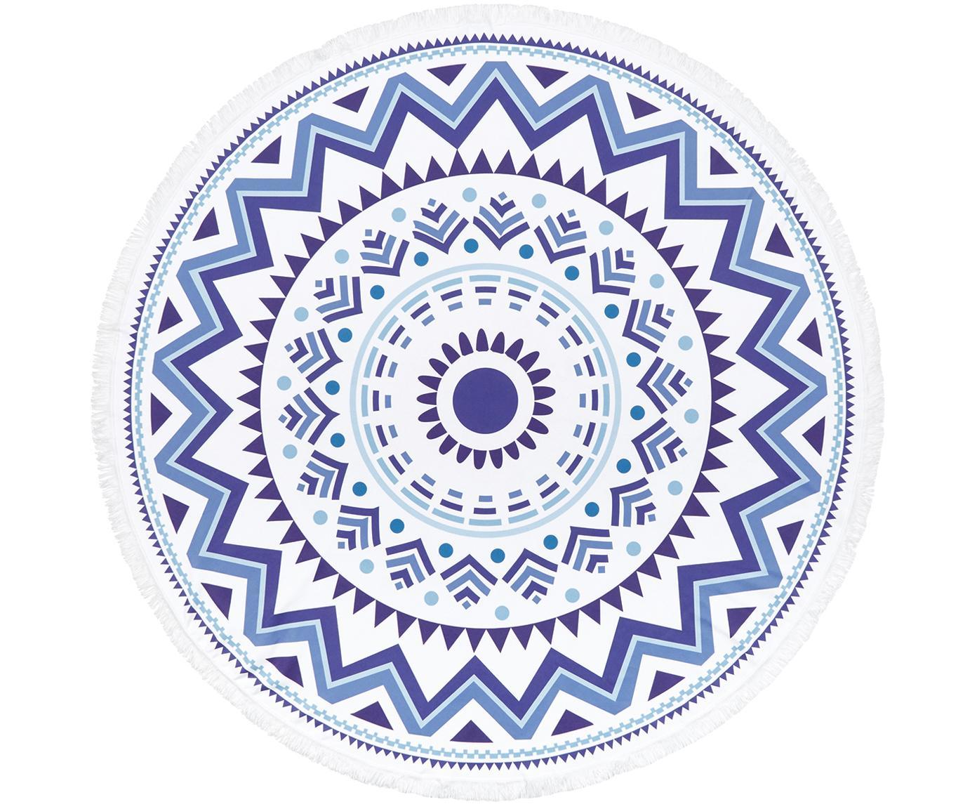 Telo mare rotondo a fantasia Hippie, 55% poliestere, 45% cotone Qualità molto leggera 340 g/m², Blu scuro, azzurro, bianco, Ø 150 cm