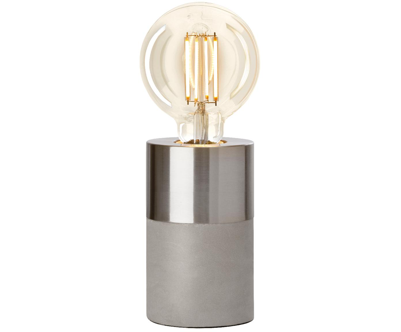 Betonnen tafellamp Athen, Grijs, chroomkleurig, Ø 8 x H 14 cm