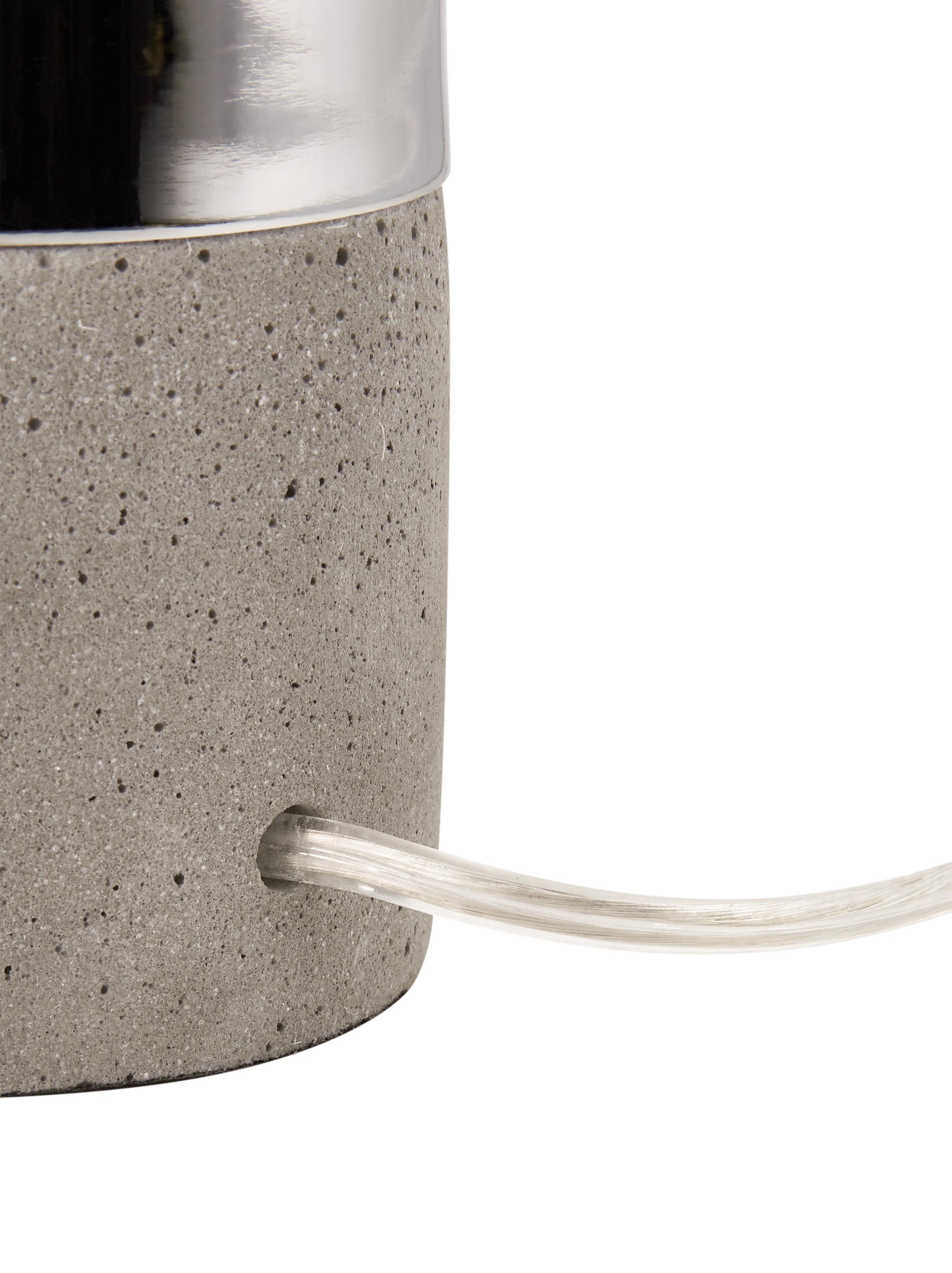Beton-Tischlampe Athen, Grau, Chrom, Ø 8 x H 14 cm