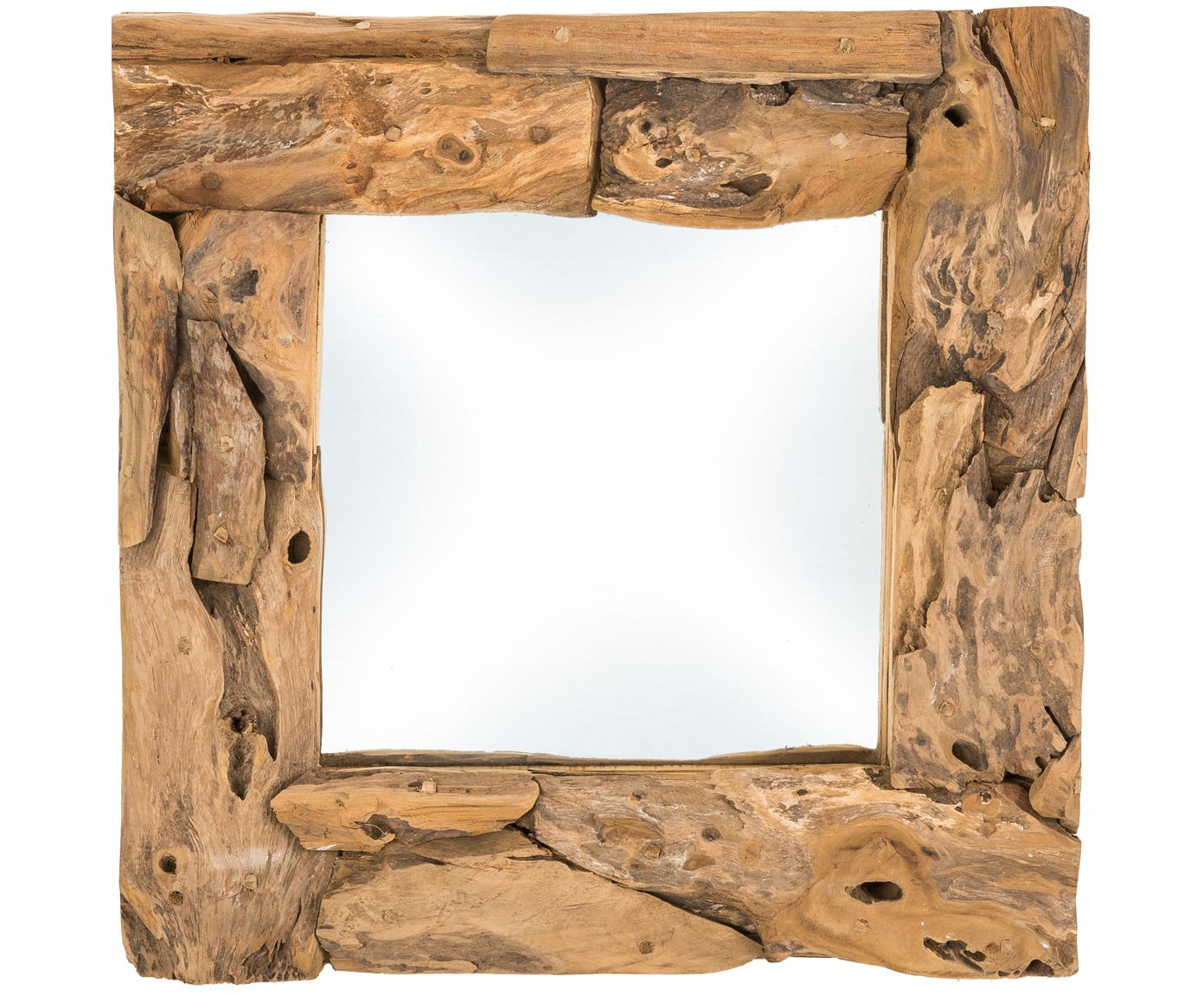 Vierkante spiegel Noah met teakhouten lijst, Lijst: teakhout, Teakhoutkleurig, 50 x 50 cm