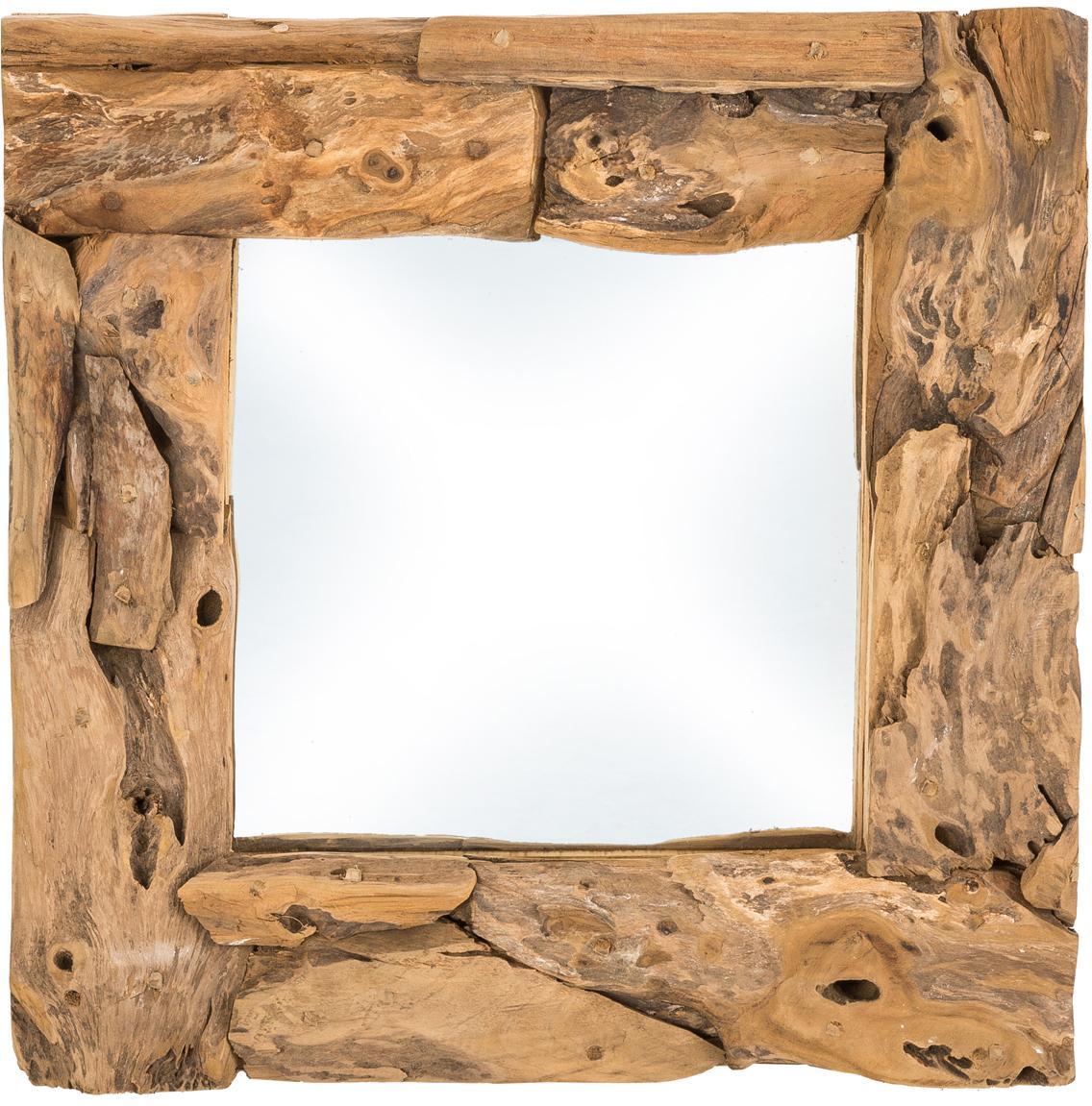 Eckiger Spiegel Noah mit Teakholzrahmen, Rahmen: Teakholz, Teak, 50 x 50 cm