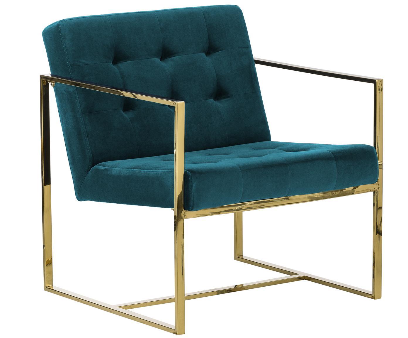 Fotel z aksamitu Manhattan, Tapicerka: aksamit (poliester), Stelaż: metal powlekany, Aksamitny niebieski petrol, S 70 x G 72 cm