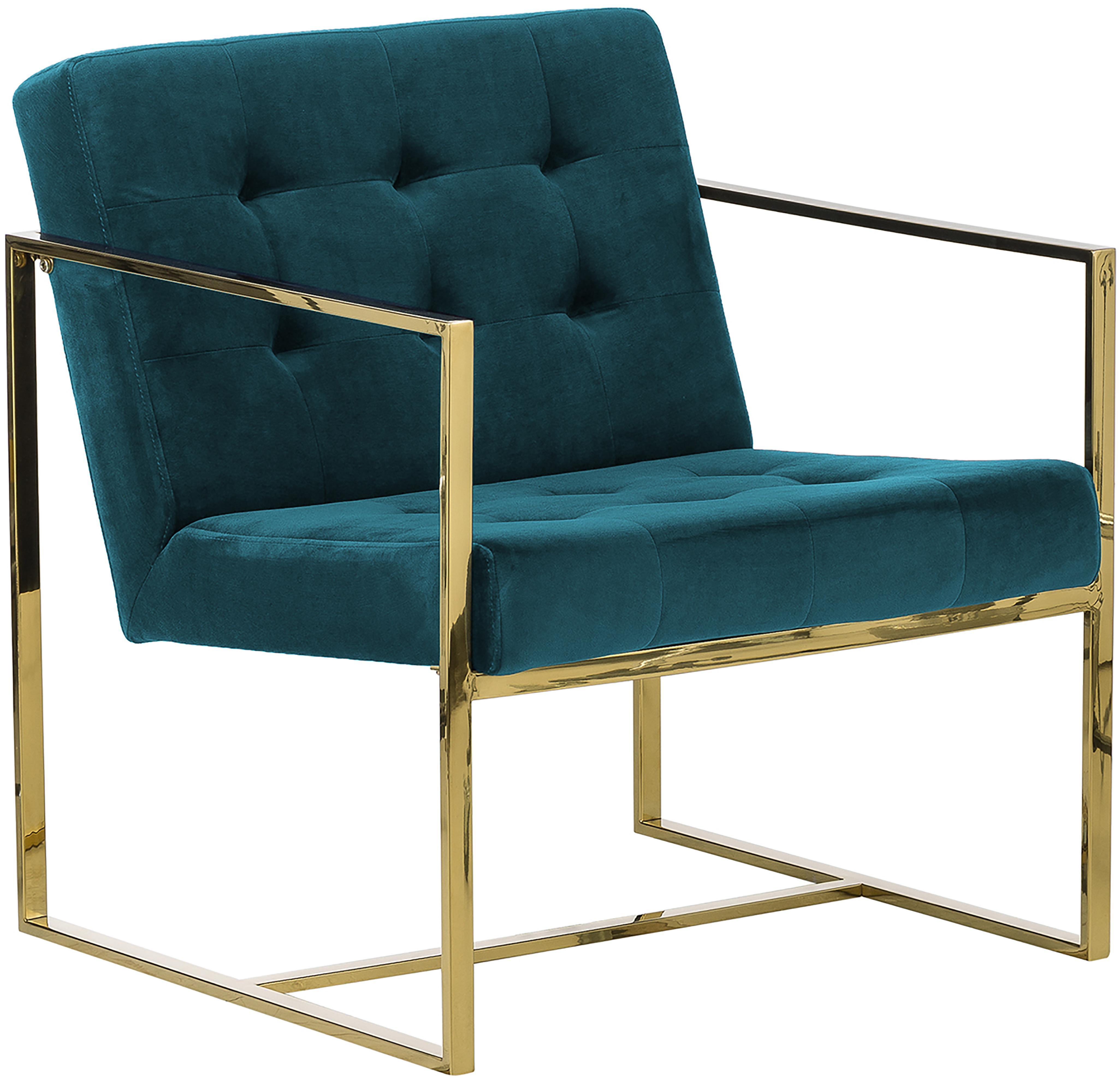 Fluwelen fauteuil Manhattan, Bekleding: fluweel (polyester), Frame: gecoat metaal, Turquoise, B 70 x D 72 cm
