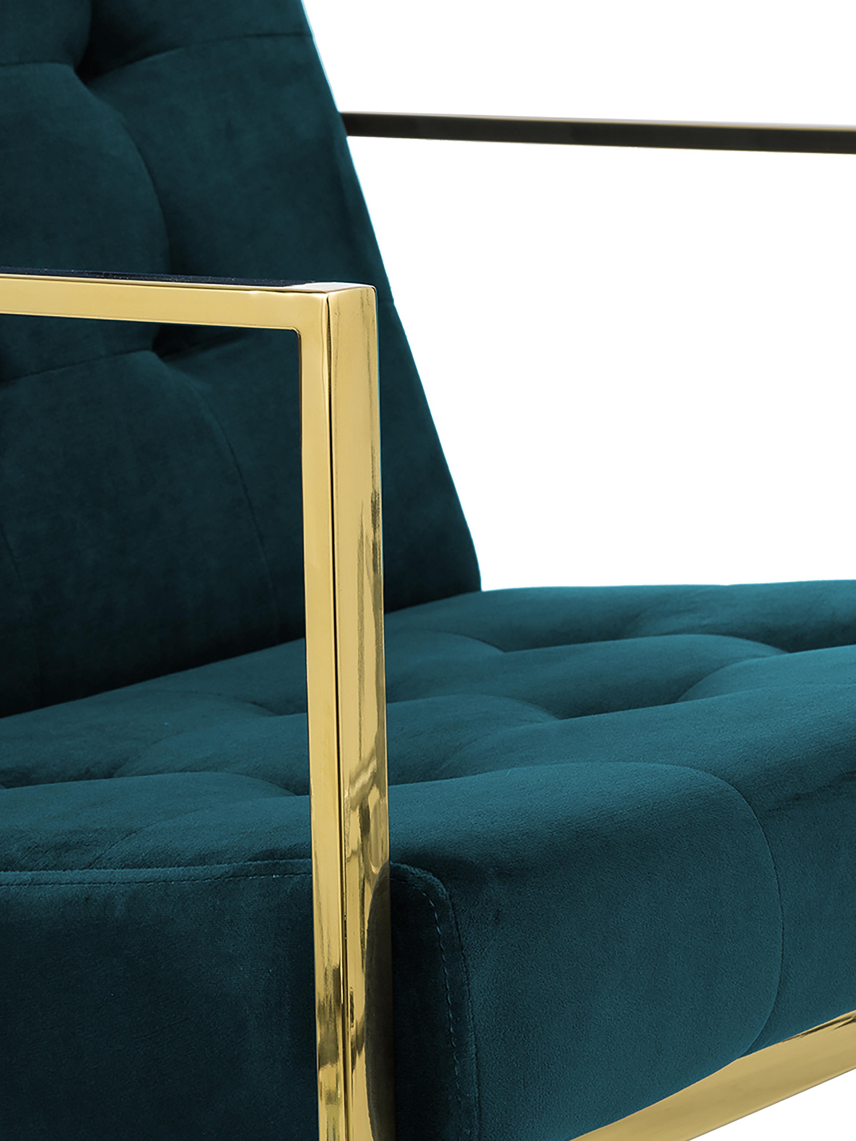 Samt-Loungesessel Manhattan in Petrol, Bezug: Samt (Polyester), Gestell: Metall, beschichtet, Samt Petrolblau, B 70 x T 72 cm