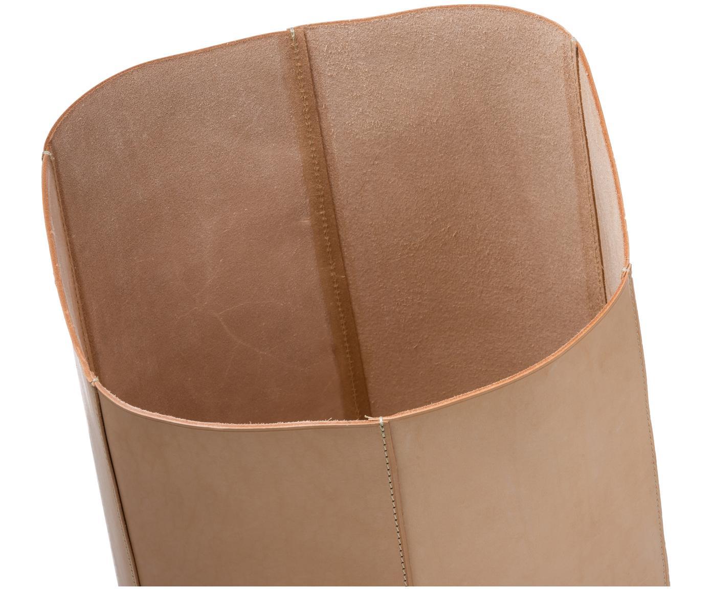 Leder-Papierkorb Hexagon, Leder, genarbt, Beige, 23 x 35 cm