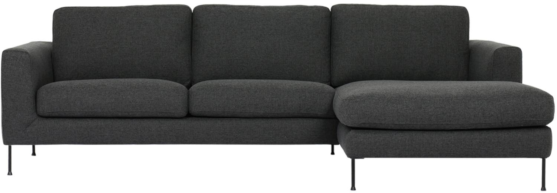 Sofá rinconero Cucita (3plazas), Tapizado: tejido (poliéster) 45.000, Estructura: madera de pino maciza, Tejido gris antracita, An 262 x F 163 cm