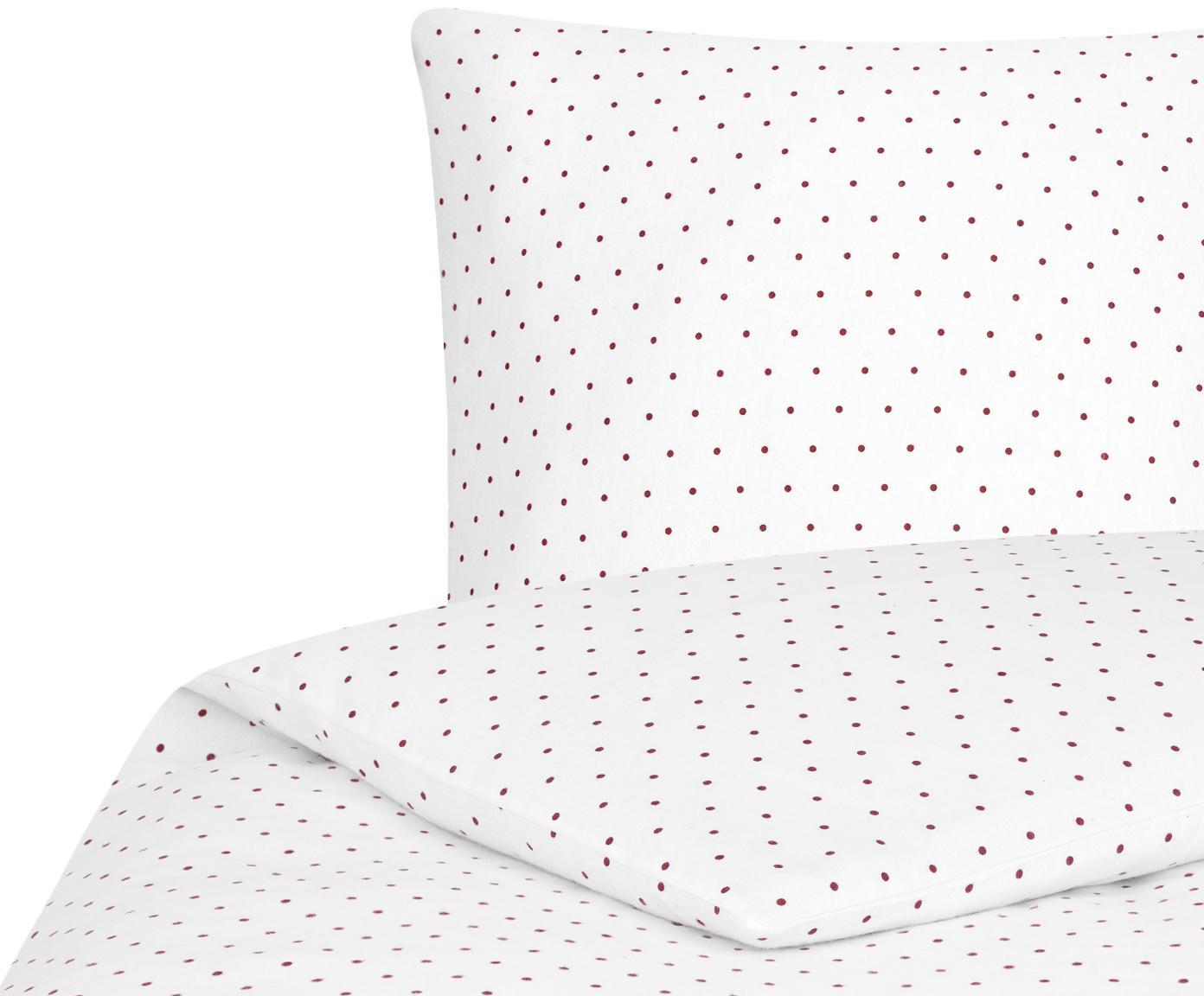 Flanell-Bettwäsche Betty, gepunktet, Webart: Flanell Flanell ist ein s, Weiß, Rot, 135 x 200 cm