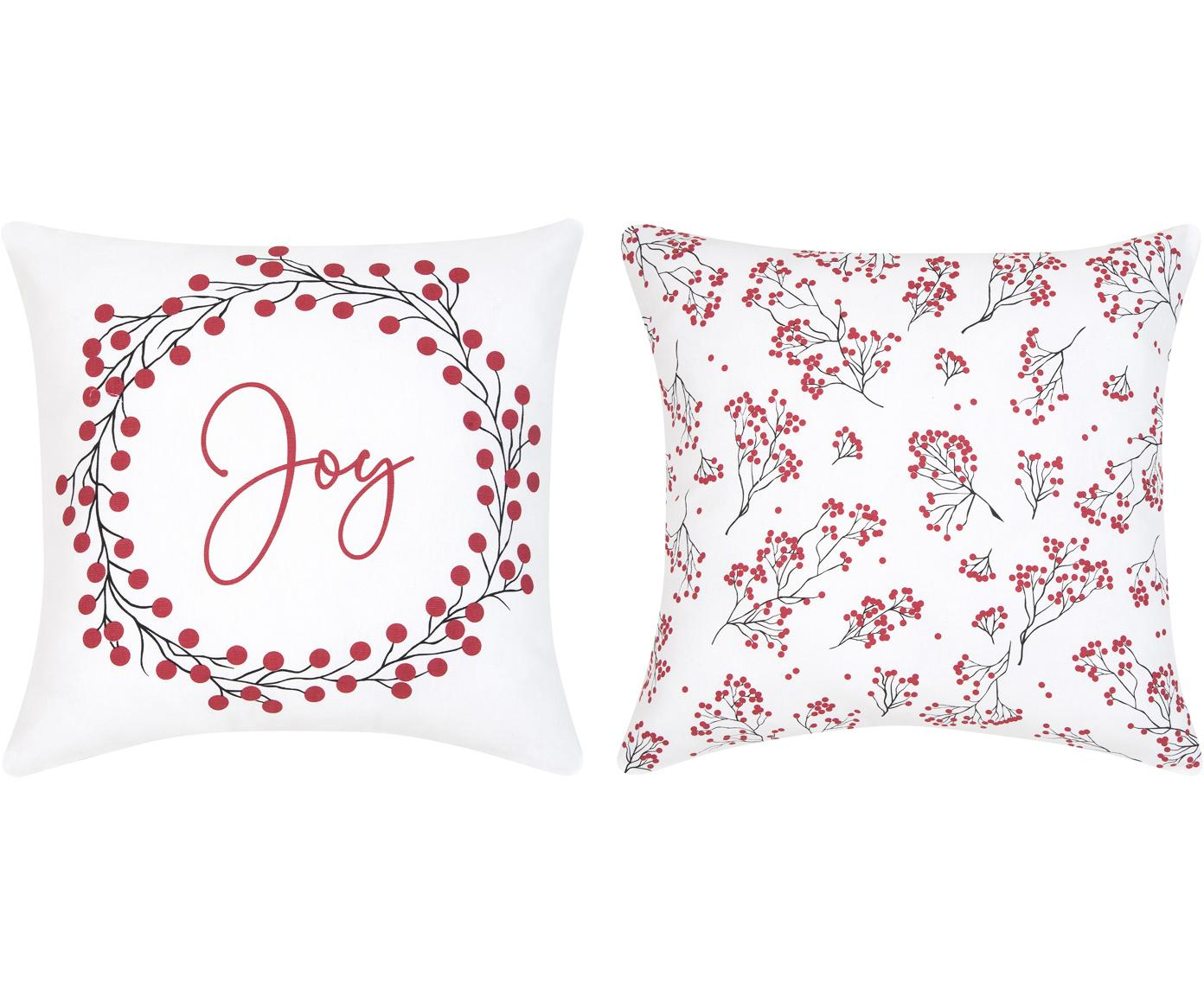 Kissenhüllen Joy, 2er-Set, Baumwolle, Rot, Weiß, Schwarz, 40 x 40 cm