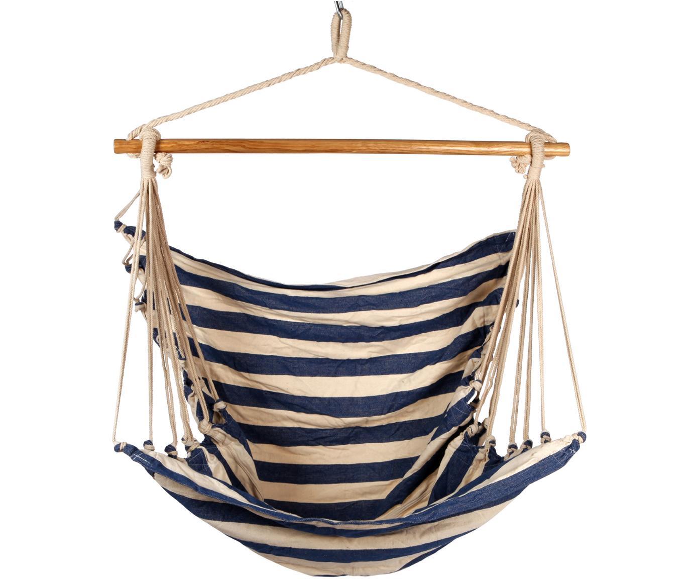 Hangstoel Monkey, Zitvlak: 65% katoen, 35% polyester, Frame: hout, Blauw, crèmekleurig, houtkleurig, 100 x 130 cm